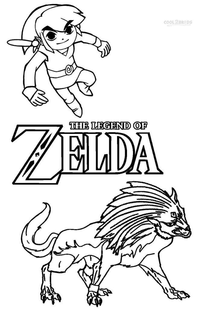 Zelda And Link Coloring Pages