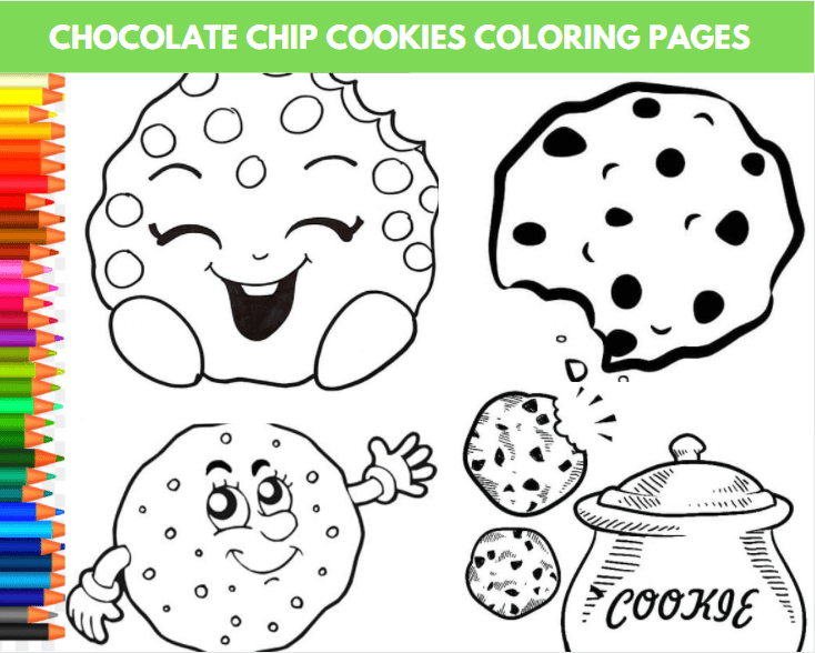 Chocolate Chip Cookies Coloring Page