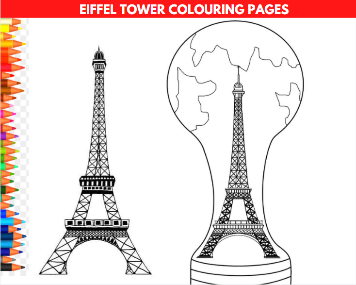 Eiffel Tower Colouring Pages