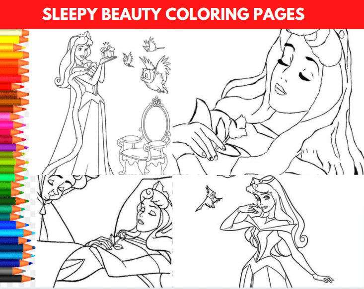 Sleepy Beauty Coloring Pages