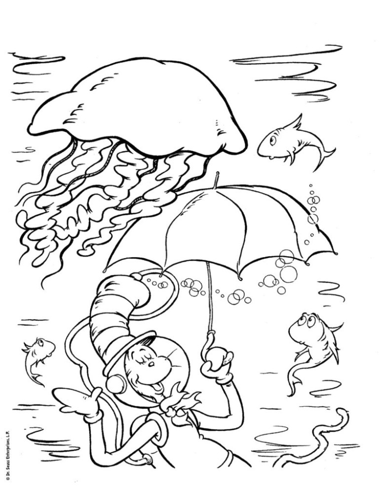 Cat In The Hat Coloring Pages Free