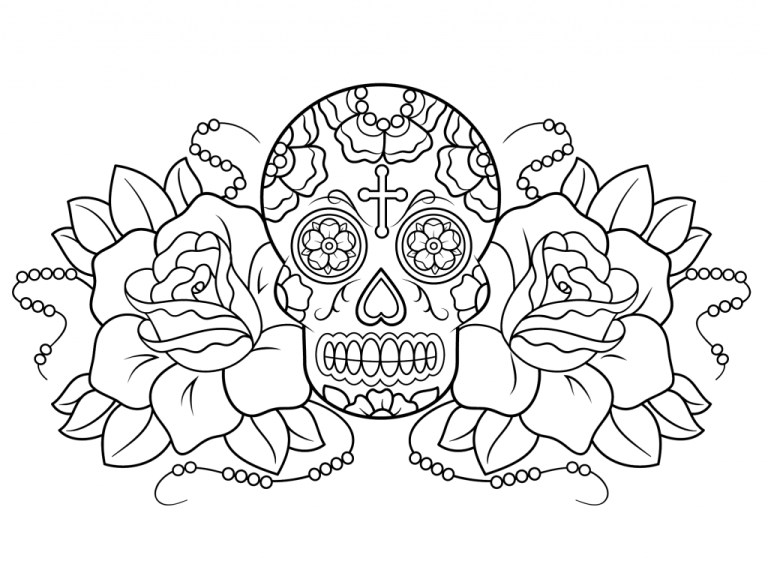 Free Day Of The Dead Drawings To Color