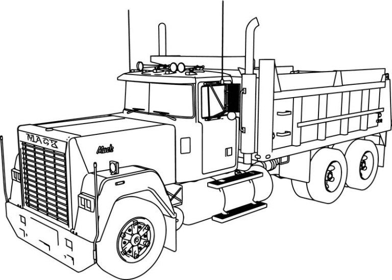 Free Dump Truck Coloring Page