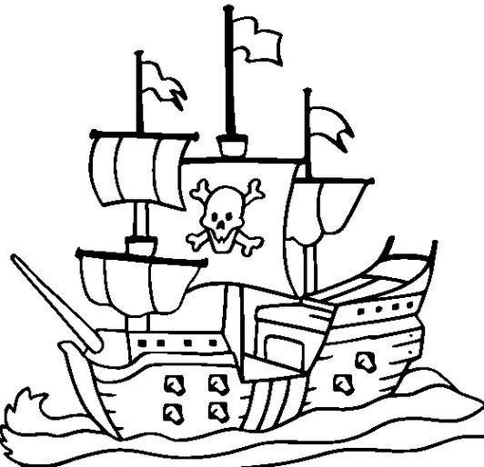 Pirate Ship Colouring Sheets