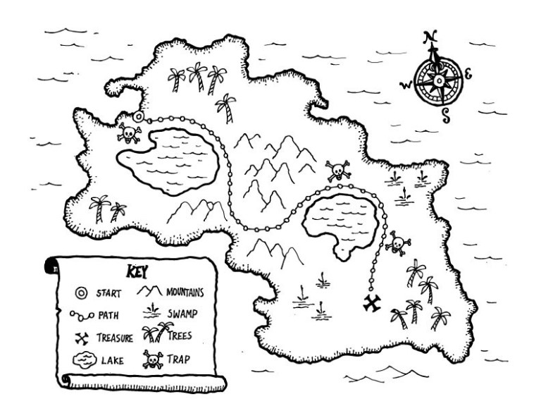 Pirate Treasure Map Coloring Page