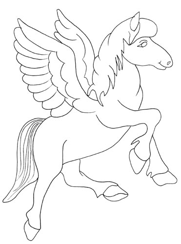 Realistic Flying Unicorn Coloring Pages