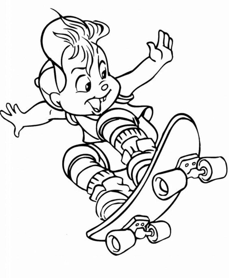 Skateboard Coloring Sheet