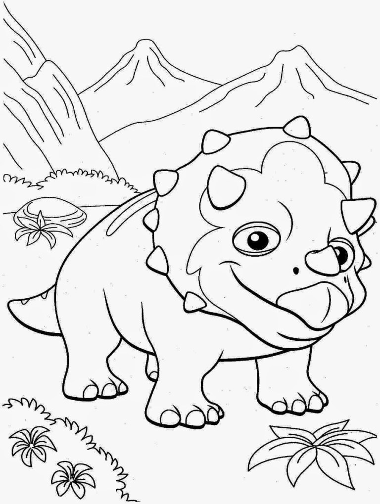 triceratops dinosaur free printable to color
