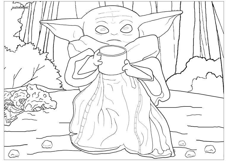 Yoda Face Coloring Page