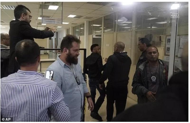 Neymar arriving Police station in Rio de Janeiro.