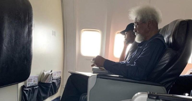 Wole Soynika onboard a flight