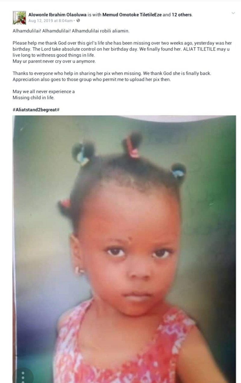 A young girl found days after she went missing in Lagos