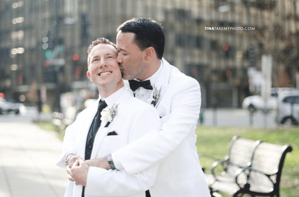 07-Washington-DC-Virginia-Gay-Same-Sex-Wedding-Men-12-13-14-Pose-White-Jackets-Happy-City