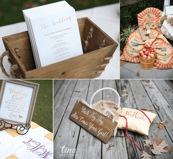 details-program-wooden-box-signs-apples-burlap-quilt-Richmond-virginia-wedding-photographer-tina-take-my-photo-fall-celebrations-reservoir-midlothian