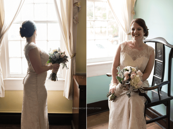 ridge-maryland-md-wedding-photographer-winery-slack-woodlawn-spring-cozy-cottage-manor-house-romantic-bride-elegant-updo-side-bun-hair-window-portrait-bride-lace-dress-bouquet