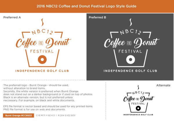 NBC12 Coffee and Donut Fest Logo Style Guide