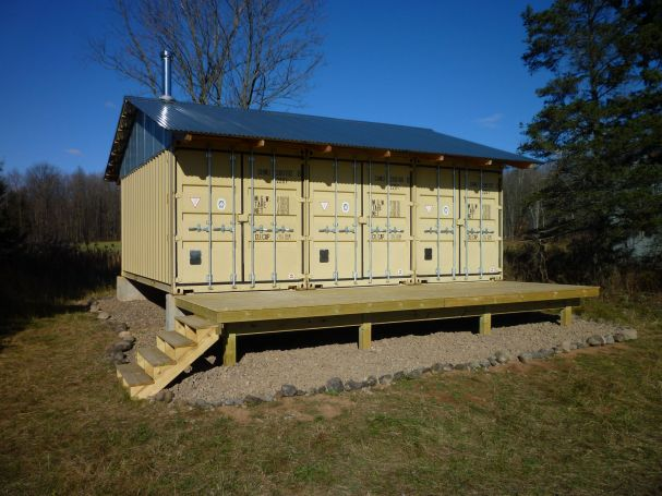 Secure shipping container cabin doors shut