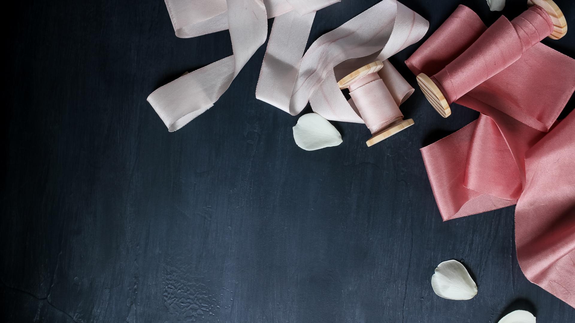 Rose and blush ribbon