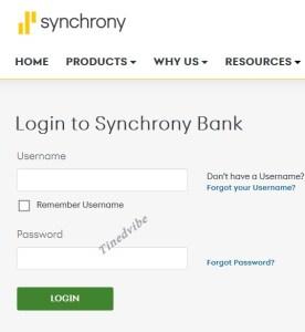 Synchrony Bank Credit Card Login