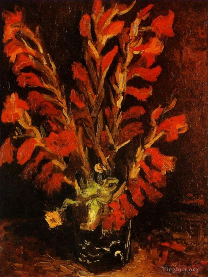 《Vase with Red Gladioli》 - 文森特·威廉·梵高的古董油畫作品的收藏,購買,賞析