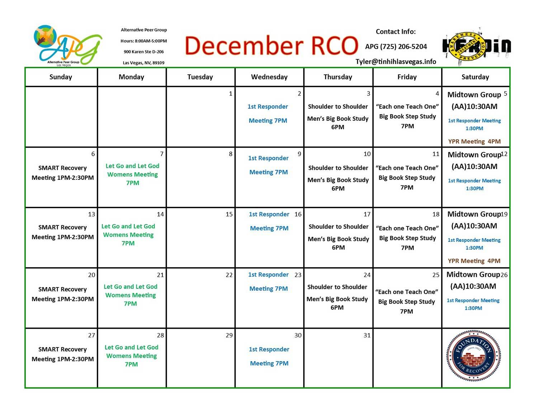 APG RCO Schedule December 2020