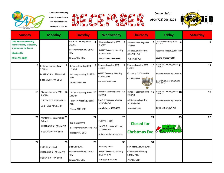 APG Schedule December 2020