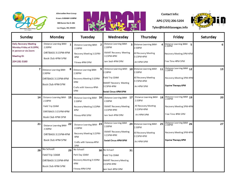 APG Schedule March 2021