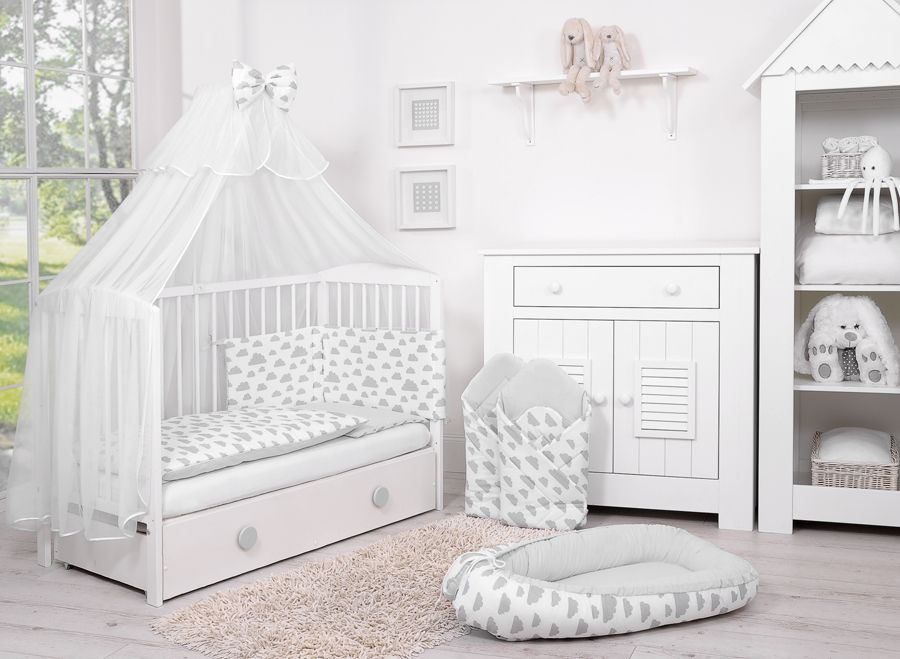 lit bebe complet accessoires collection nuage gris