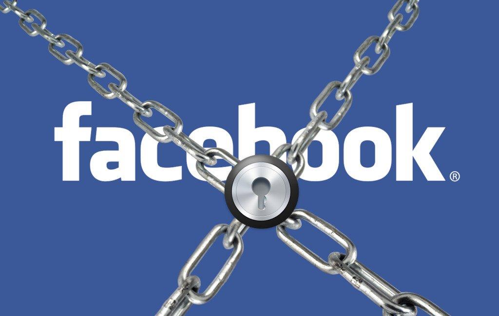 Logo de Facebook con unas cadenas y un candado