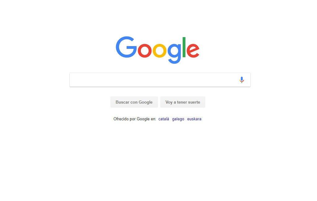 Página del buscador de Google