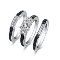 Tinnivi Sterling Silver Black Diamond Channel 3PC 3 Stone ...