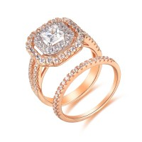 Rose Gold Color 925 Sterling Silver Princess Cut 1