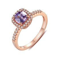 Rose Gold 925 Sterling Silver Cushion Cut Amethyst