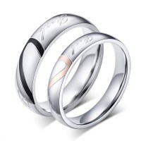 Titanium Steel Heart Design Promise Ring for Couples ...