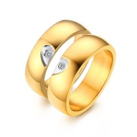 Elegant Heart Design Gold Titanium Steel Gemstone Promise