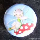 Tin Teddy Sakura Fairy image on a badge