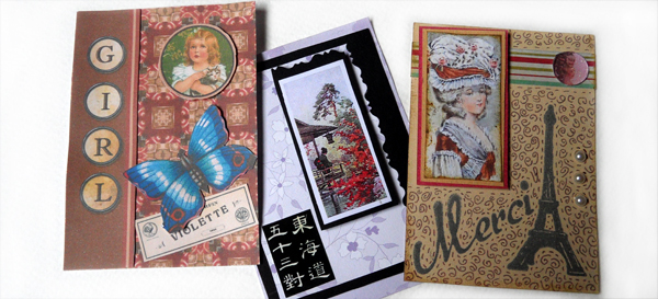 Examples of Artist Trading Cards featuring images from Tin Teddy collage sheets