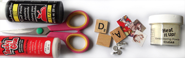 What you will need to make scrabble tile pendants