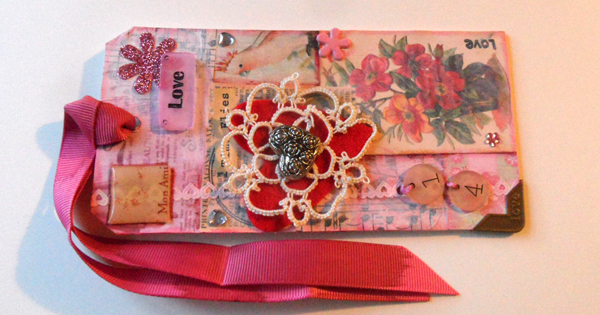 The finished mixed media tag