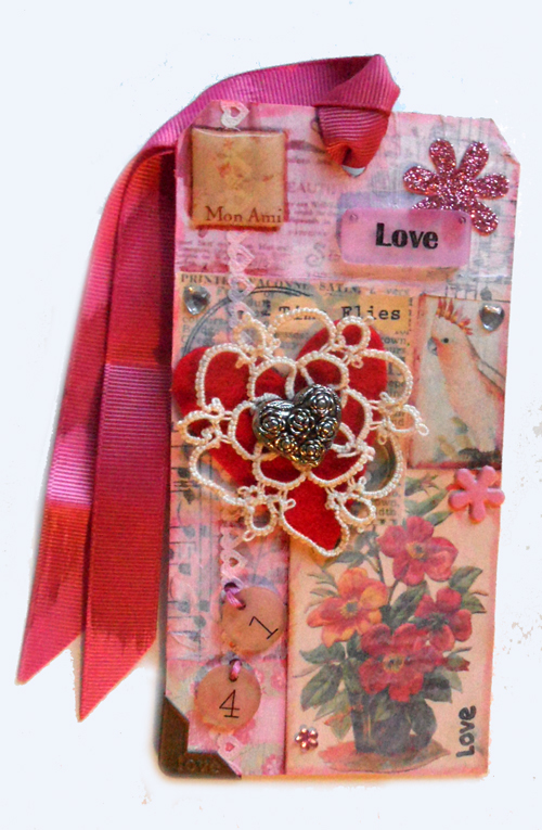 Vintage Valentine Tag  - mixed media - Tim Holtz Tags of 2015