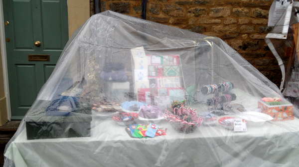 craft stall in the rain