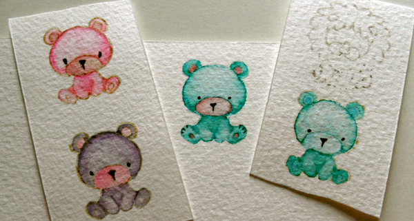 No-line watercolour bears