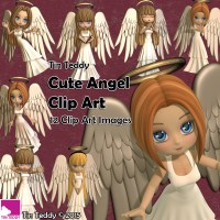 Tin Teddy Cute Angels Clip Art