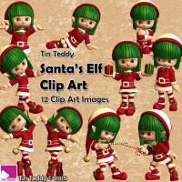 Tin Teddy Santa's Elf Clip Art Images