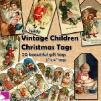 Tin Teddy Vintage Children Christmas Tags