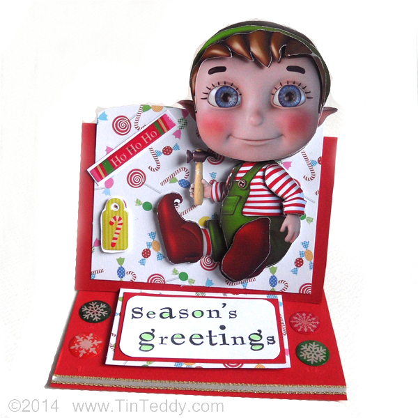 Card using Tin Teddy Christmas Elves Clip Art