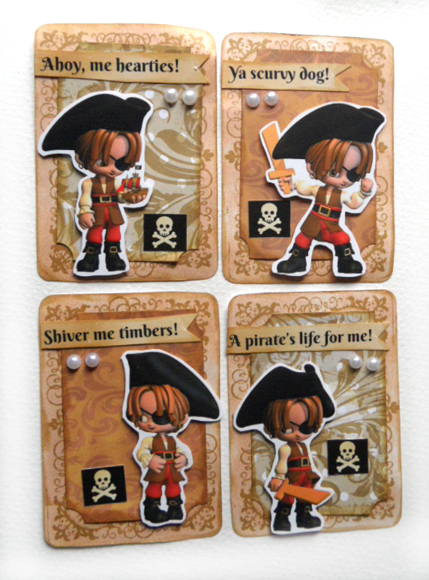 Artist Trading Cards using Little Pirate clip art