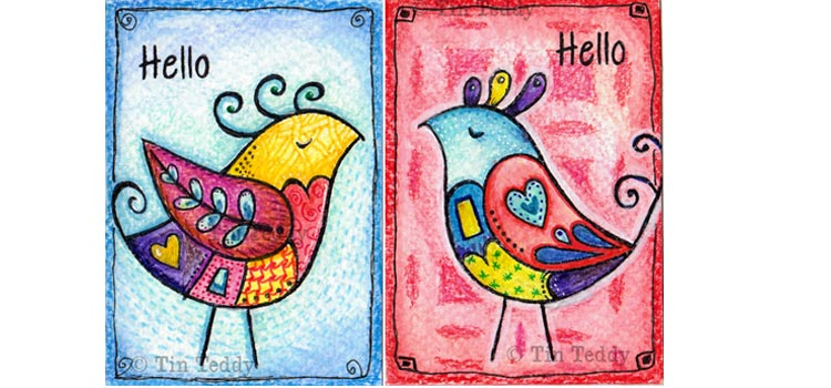 Two birds - Arist trading cards