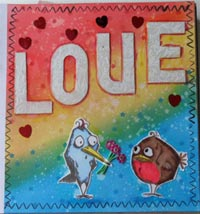 Love Birds Mixed Media journal page - tutorial on Tin Teddy Blog