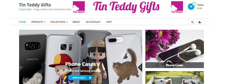 My standalone WordPress shop site, Tin Teddy Gifts